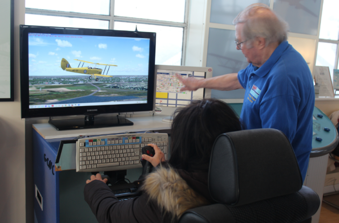 In the air traffic control tower you can play around on a flight simulator (my mother nearly crashed the plane).